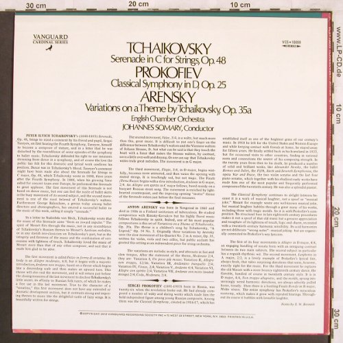 Tschaikowsky,Peter/Prokofiev/Arensk: Serenade in C for Strings,op.48, Vanguard Cardinal(VCS 10099), US, 1972 - LP - L7552 - 6,00 Euro