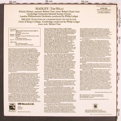 Hadley,Patrick / Delius: The Hills / To be sung of a summer., EMI/Angel Series(SAN 393), UK, 1976 - LPQ - L7556 - 6,00 Euro