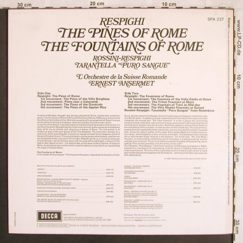 Respighi,Ottorino: The Pines of Rome/Fountains ofRome, Decca(SPA 227), UK,  - LP - L7780 - 7,50 Euro