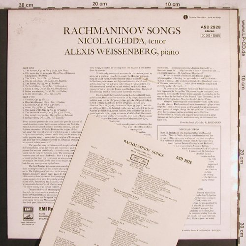 Rachmaninoff,Sergei: Songs, EMI(ASD 2928), UK, 1969 - LP - L7988 - 7,50 Euro
