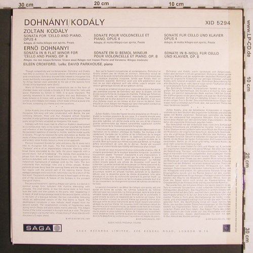 Kodaly,Zoltan / Dohnanyi: Sonata for Cello and Piano op.4/op8, Saga(XID 5294), UK,vg+/m-,  - LP - L8029 - 6,00 Euro