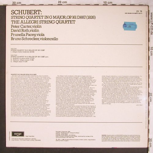 Schubert,Franz: String Quartet in G Major,op.161, Argo(ZK 78), UK, 1980 - LP - L8134 - 6,00 Euro