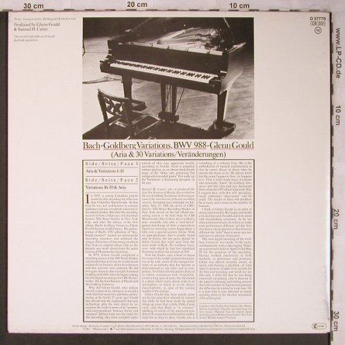 Bach,Johann Sebastian: The Goldberg-Variationen, Foc, CBS(D 37779), NL, 1982 - LP - L8373 - 7,50 Euro