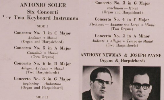 Soler,Padre Antonio: Six Concerti for Two Keyboards Inst, Turnabout(TV 34136 S), UK, 1968 - LP - L8391 - 7,50 Euro