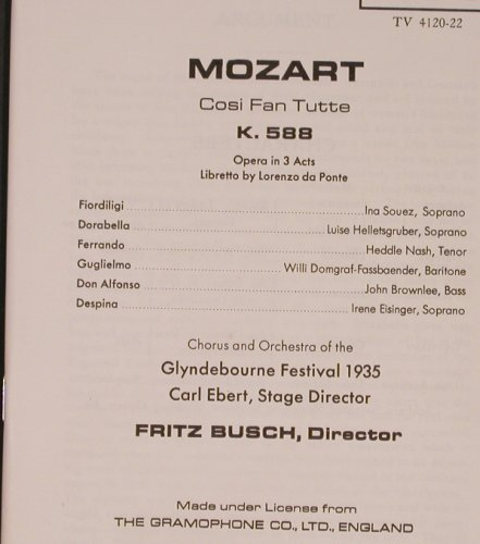 Mozart,Wolfgang Amadeus: Cosi Fan Tutte, Box, m-/vg-, Turnabout Vox(TV 4120-22), US,  - 3LP - L8429 - 12,50 Euro
