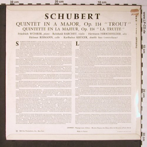 Schubert,Franz: Quintet in A Major op.114 Trout, Super Majestic(BBH 1 130), F,vg+/m-, 1960 - LP - L8678 - 7,50 Euro