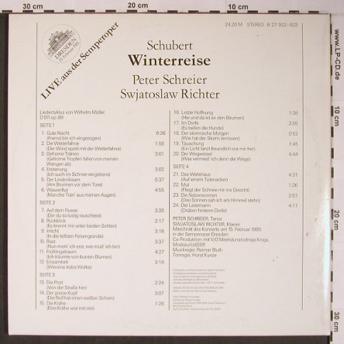 Schubert,Franz: Winterreise, Foc,Live Semperoper, Eterna(8 27 922-923), DDR, 1985 - 2LP - L8894 - 9,00 Euro