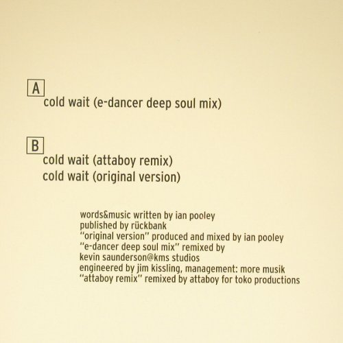 Pooley,Ian: Cold Wait*3, V2(), EEC, 1999 - 12inch - C5748 - 5,00 Euro