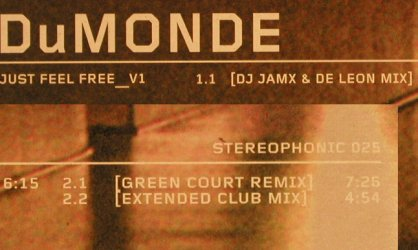 DuMonde: Just Feel Free*3, Stereophonic/BMG(025), D, 2000 - 12inch - H8452 - 3,00 Euro