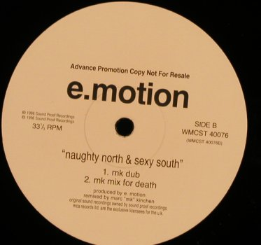E-Motion: The Naughty North & SexySouth,mk-mx, MCA(WMCST 40076), UK,Promo, 1996 - 12inch - H9993 - 1,00 Euro