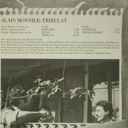 Monnier,Alain: Tribulat'80, Hat Hut Records(3505), US, 1982 - LP - C6328 - 20,00 Euro