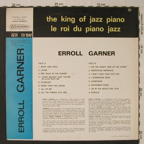 Garner,Erroll: The King Of Jazz Piano-16 Hits, Musidisc(30 CV 1047), F,  - LP - F5339 - 5,50 Euro