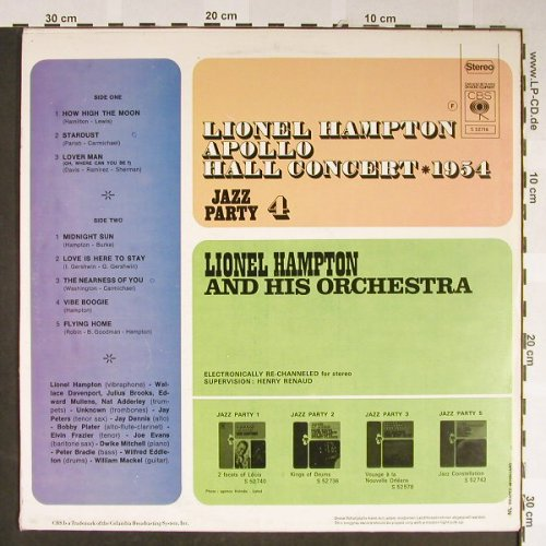 Hampton,Lionel: Apollo Hall Concert,Ri,Jazz Party 4, CBS(S 52716), NL,vg+/m-,  - LP - H2127 - 5,00 Euro
