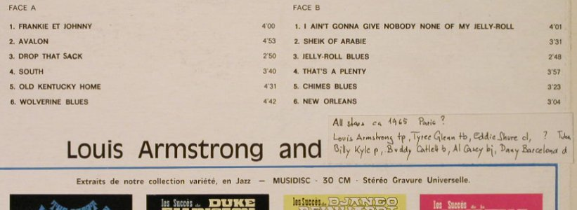 Armstrong,Louis: The Great (All Star ca.1965 Paris?), Musidisc(30 CV 1079), F, Ri,stoc,  - LP - H3226 - 6,50 Euro