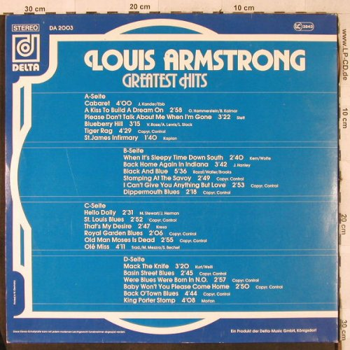 Armstrong,Louis: Greatest Hits, Foc, Delta(green)(DA 2003), D,  - 2LP - H3994 - 6,00 Euro