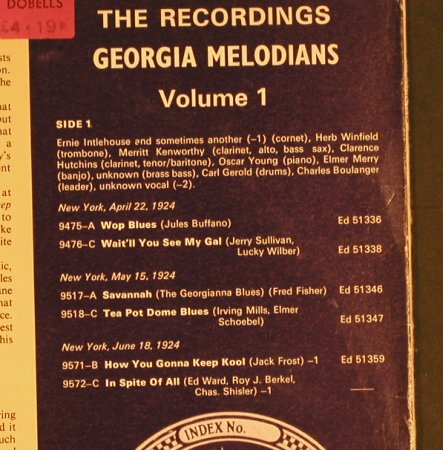 Georgia Melodians: Vol.1 - 1924, Retrieval(FG-402), UK,m-/vg+,  - LP - H6225 - 4,00 Euro