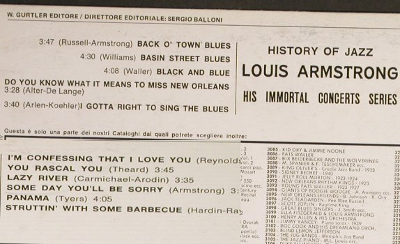 Armstrong,Louis: His Immortal Concert Series, Joker/History Of Jazz(SM 3133), I, 1971 - LP - H6692 - 5,00 Euro