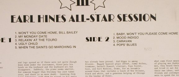 Hines,Earl: All-Star Sessions, vg+/vg+, Trip(JT-3), US,  - LP - H6732 - 4,00 Euro