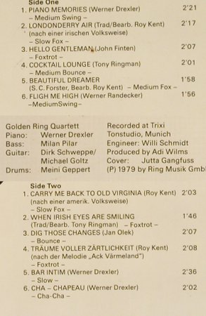 Golden Ring Quartet: Piano Memories, Golden Ring Record(A 30 033 RM), D, 1979 - LP - H6785 - 6,00 Euro