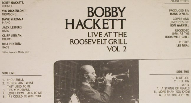 Hackett,Bobby: Live at the Roosevelt Grill Vol.2, Cia(CR-138), US, m-/vg+,  - LP - H6853 - 5,00 Euro