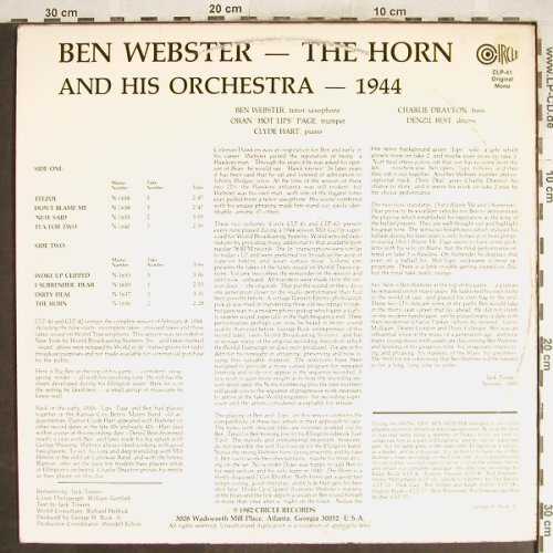 Webster,Ben: The Horn, m-/vg+, Circle(CLP-41), US,  - LP - H7099 - 7,50 Euro