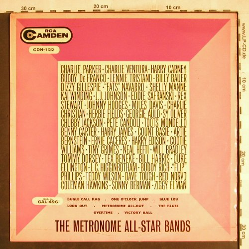 Metronome All-Star Bands: Charlie Parker ...Ziggy Elman, RCA Camden(CDN-122), UK,m-/VG+,  - LP - H7461 - 6,00 Euro