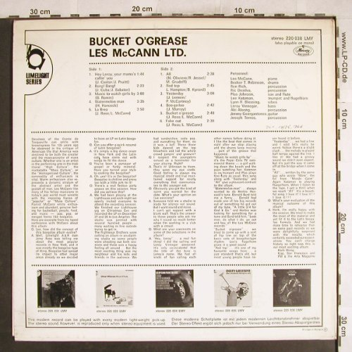 Mc Cann,Les: Bucket O' Grease,Promo-Stol,Stoc, Mercury(220 038 LMY), NL, 1967 - LP - H7462 - 25,00 Euro