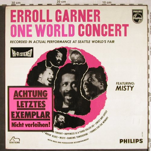 Garner,Erroll: One World Concert,Promo-Stol,Stoc, Philips(842 912 BY), NL, 1963 - LP - H7899 - 15,00 Euro