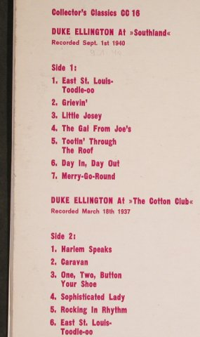 Ellington,Duke: At The Cotton Club,Southland 1940, Collector's Classics(CC 16), UK,  - LP - H7907 - 5,00 Euro