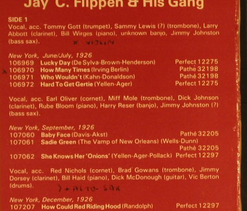 Jay C Flippen & his Gang: 1926-27, Red Nichols,Miff Mole..., Fountain(FV-204), UK,vg+/vg+,  - LP - H8948 - 7,50 Euro