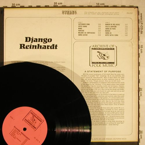 Reinhardt,Django: Archive Of Folk Music, Everest(FS-212), US,  - LP - H9524 - 6,00 Euro