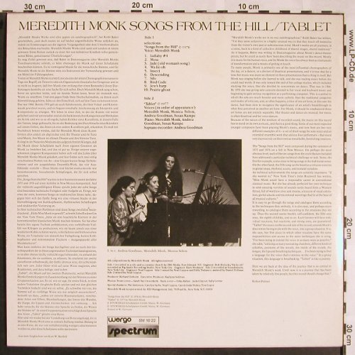 Monk,Meredith: Songs From The Hill/Tablet, Wergo(SM 10 22), D, 1979 - LP - X1319 - 24,00 Euro