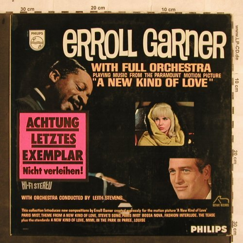 Garner,Erroll  with Full Orchestra: A New Kind of Love, Leith Stevens, Philips(842 913 BY), NL,  - LP - X14 - 20,00 Euro