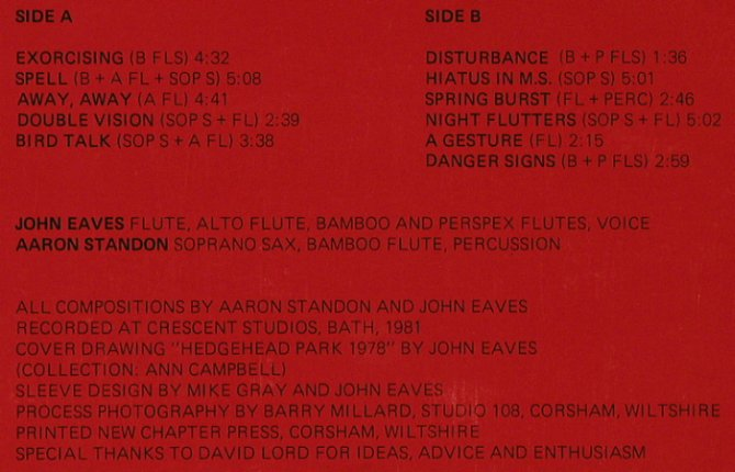 Eaves,John / Aaron Standon: Playing for Time, Zyzzle Record(6), UK, 1981 - LP - X1547 - 12,50 Euro