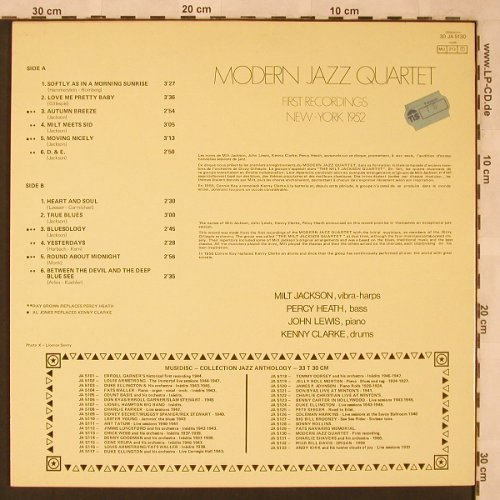 Modern Jazz Quartet: First Recordings New York 1952, Musidisc(30 JA 5130), F,  - LP - X2420 - 12,50 Euro
