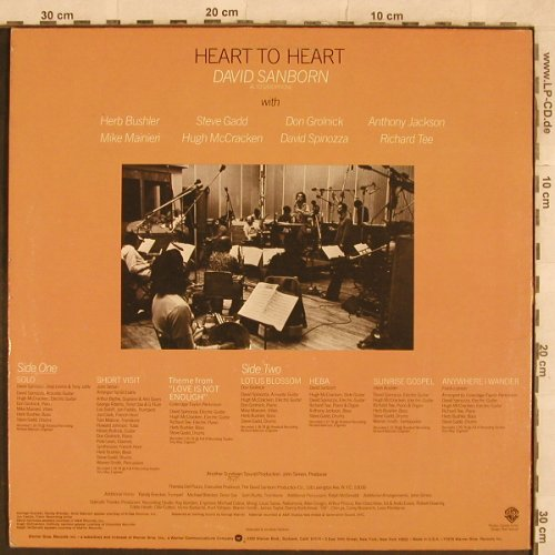 Sanborn,David: Heart To Heart, WB(BSK 3189), US, 1978 - LP - X322 - 6,00 Euro