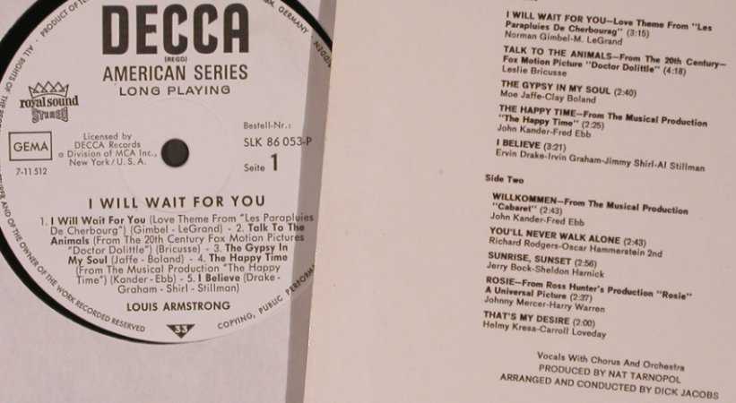 Armstrong,Louis: I Will Wait For You, Decca(SLK 86 053-P), D,  - LP - X5512 - 9,00 Euro
