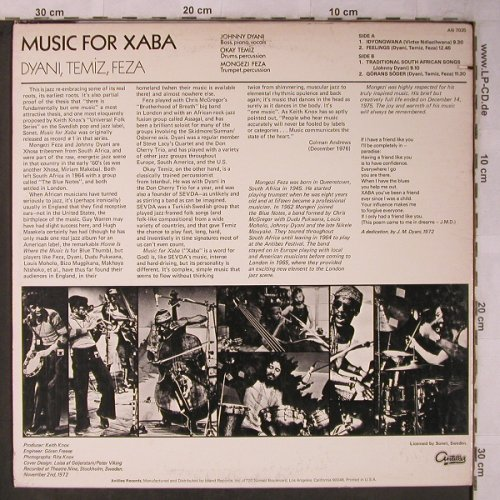 Dyani Temiz Feza: Music for Xaba, Antilles(AN 7035), US, co, 1972 - LP - X5610 - 50,00 Euro