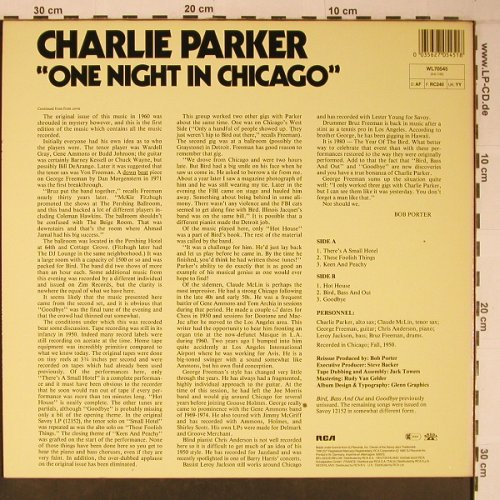 Parker,Charlie w. Orchestra: One Night in Chicago, like new, Savoy(WL70545), D, Ri, 1985 - LP - X6428 - 17,50 Euro