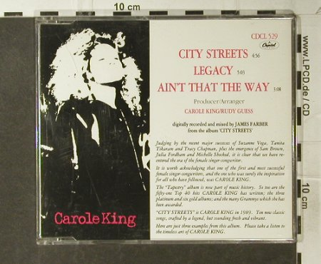 King,Carole: City Streets+2, Capitol(CDCL 529), UK, 1989 - CD5inch - 94976 - 4,00 Euro