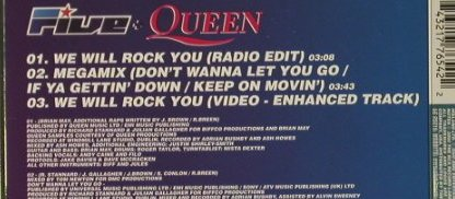Five + Queen: We will Rock you*2+1, BMG(), EU, 00 - CD5inch - 96764 - 3,00 Euro
