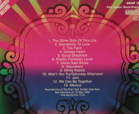 Jefferson Airplane: At Golden Gate Park, Digi, Charly(SNAP 283 cd), UK, 2006 - CD - 96776 - 7,50 Euro