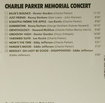Parker,Charlie by V.A.: Memorial Concert, Green Line(), EEC, 1989 - CD - 98495 - 7,50 Euro