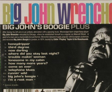 Wrencher,Big John: Big John's Boogie Plus, FS-New, Sanctuary(CMRcd 649), UK, 2003 - CD - 93138 - 9,00 Euro