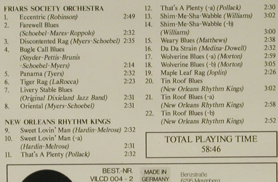 New Orleans Rhythm Kings: Vol.1, Jazz Archives No.4(Mono), Village(), D,  - CD - 97215 - 10,00 Euro