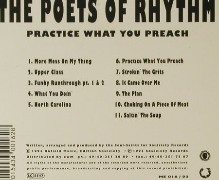 Poets Of Rhythm,The: Practise What You Preach, Digi, Soulciety(ME 016/93), D, 1993 - CD - 95685 - 7,50 Euro