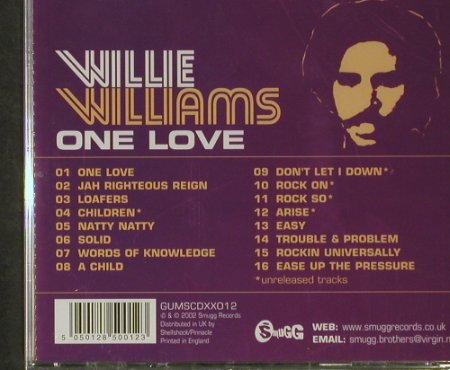 Williams,Will: One Love, FS-New, Smugg(GUMSCDXX012), UK, 2002 - CD - 92919 - 9,00 Euro