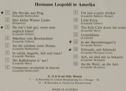 Leopoldi,Hermann: In Amerika, f. Helly Möslein, Preiser Records(90060), A, woc,  - CD - 50745 - 5,00 Euro