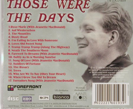 Nelson,Eddie: Those were the days, Forfront(), D, 01 - CD - 55533 - 7,50 Euro