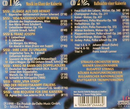 Sissi: Musik im glanz der Kaiserin,FS-New, Laserlight Classic(), D,BoxSet, 1998 - 2CD - 94229 - 10,00 Euro